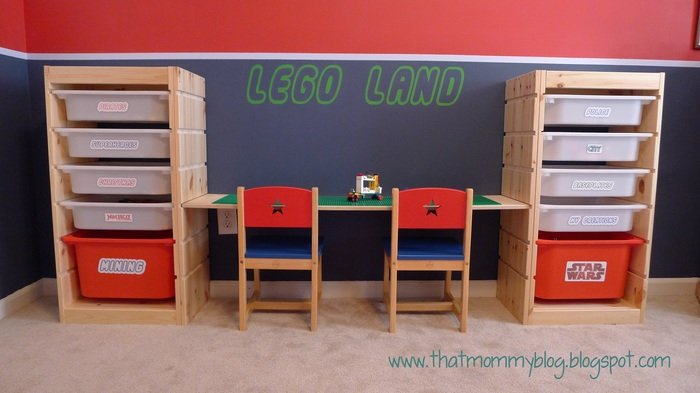 Lego storage and play table from trofast shelving ikea - Boite de rangement pour lego ...