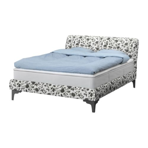 description a few years ago ikea released the vanvik bed frame featuring curved black metal legs adorned by a slipcover featuring the leaby black white
