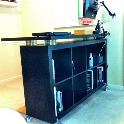 Another Expedit Standing Desk with CDs as risers IKEA Hackers