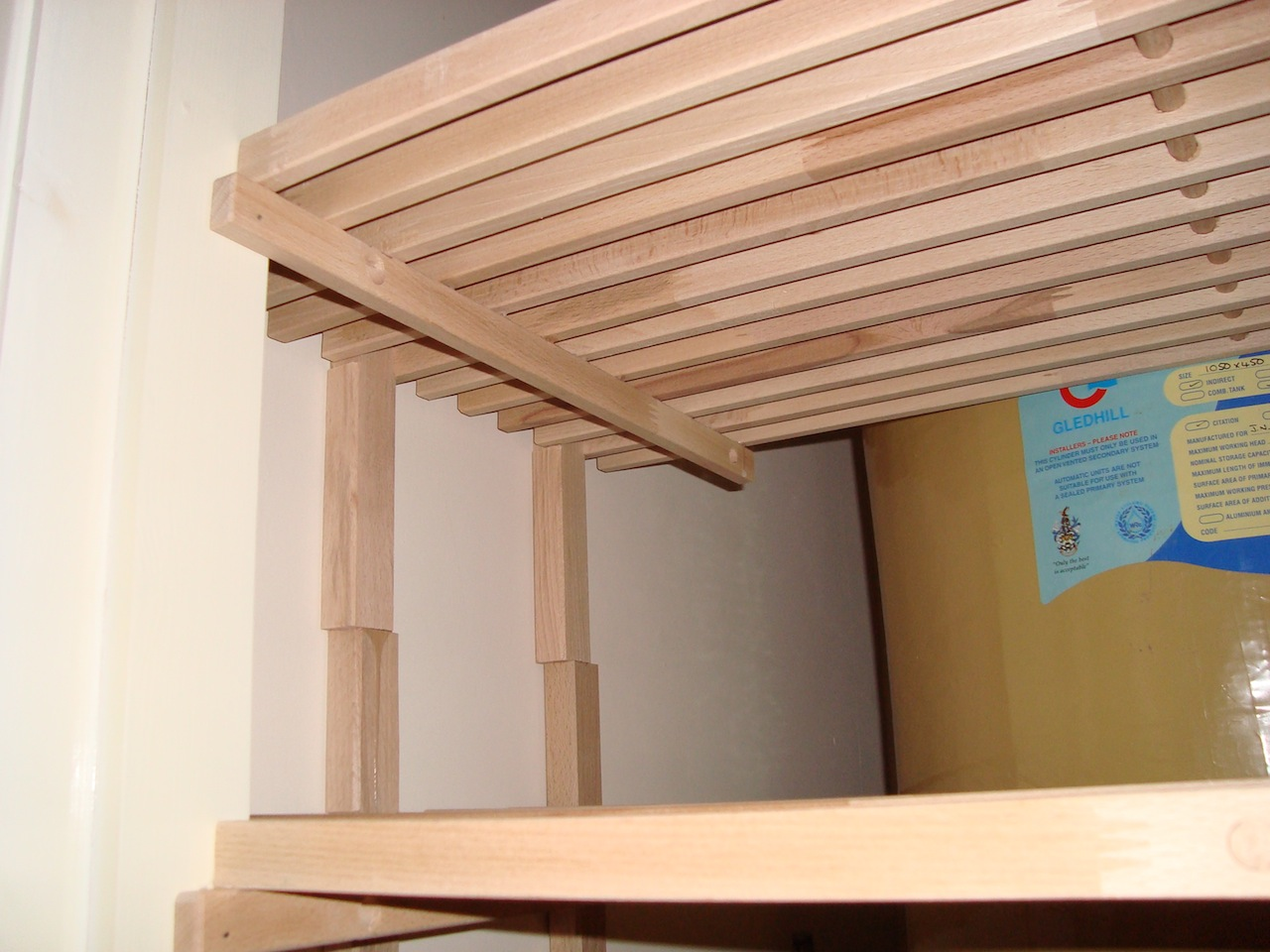 Amazing photo of repeat steps 3 – 6 for each shelf gluing the legs in position  with #1D4D95 color and 1280x960 pixels