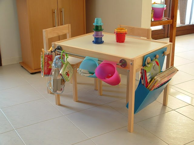 IKEA LATT table equipped with storage and organisation compartments