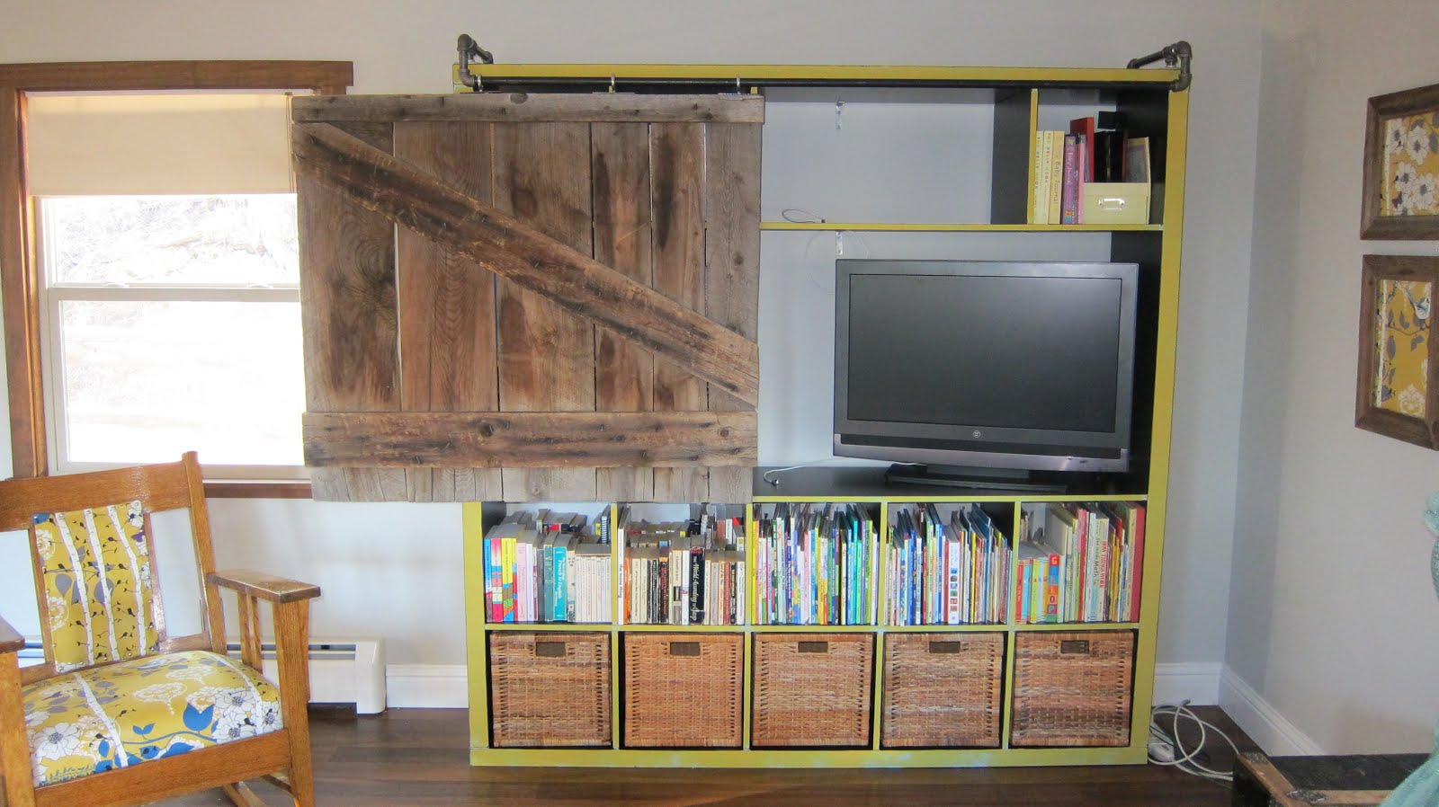 Expedit Bookshelf Turned Rustic Tv Cabinet Bookshelf Ikea Hackers