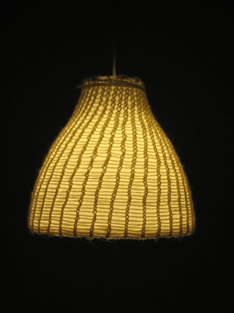 ... IKEA Melodi lamp, (white) wool, quick knit ring, universal glue 23 cm