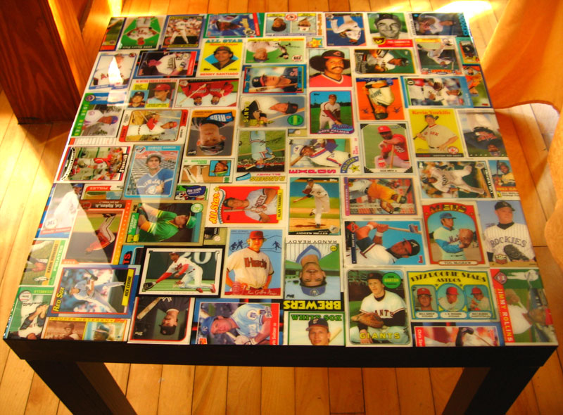Baseball Card Collage Table IKEA Hackers