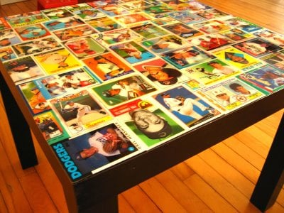 baseball card collage table