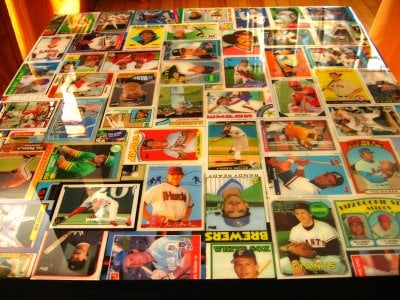 baseball card collage table