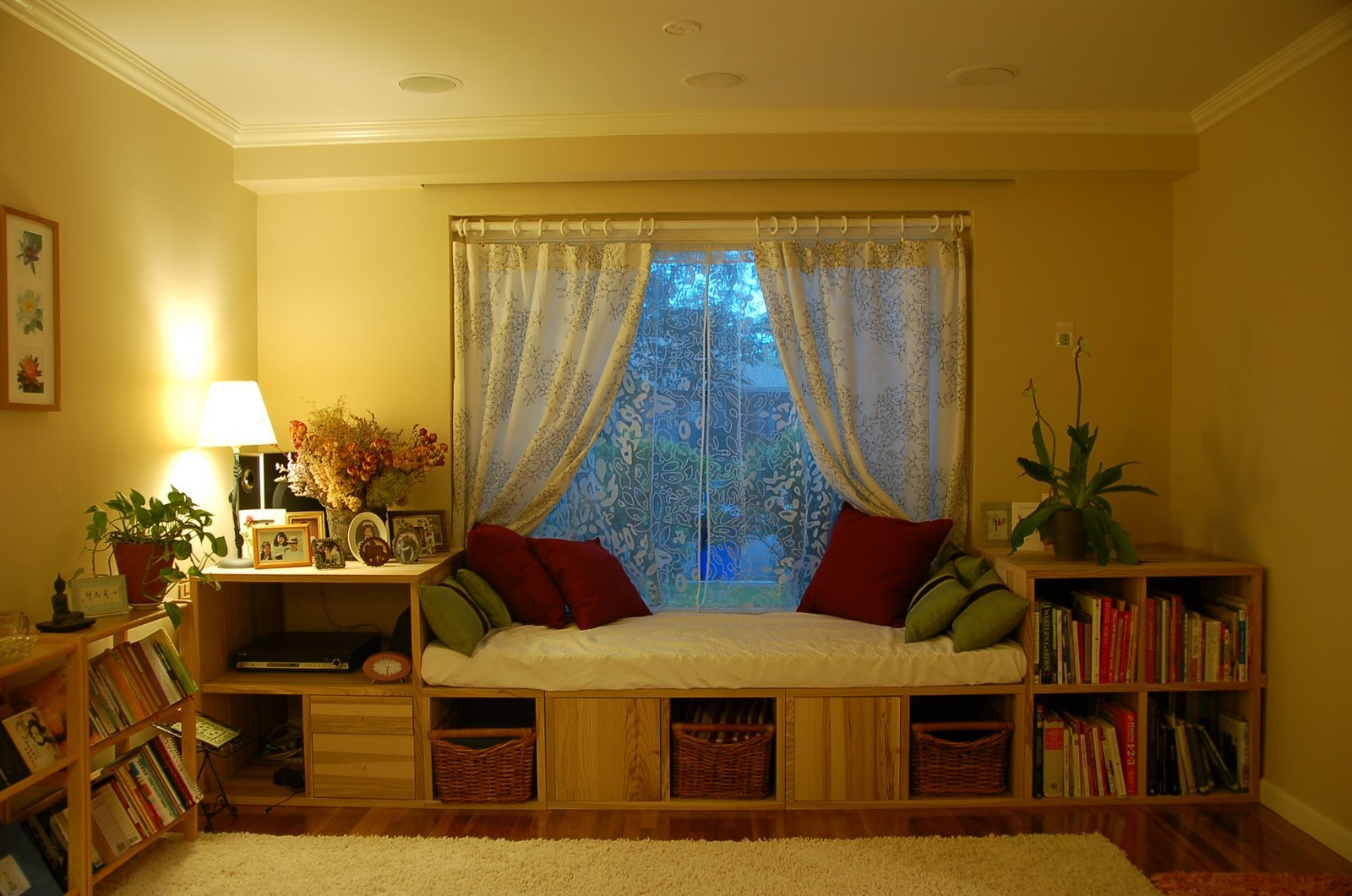 Bookcases to bay window seat