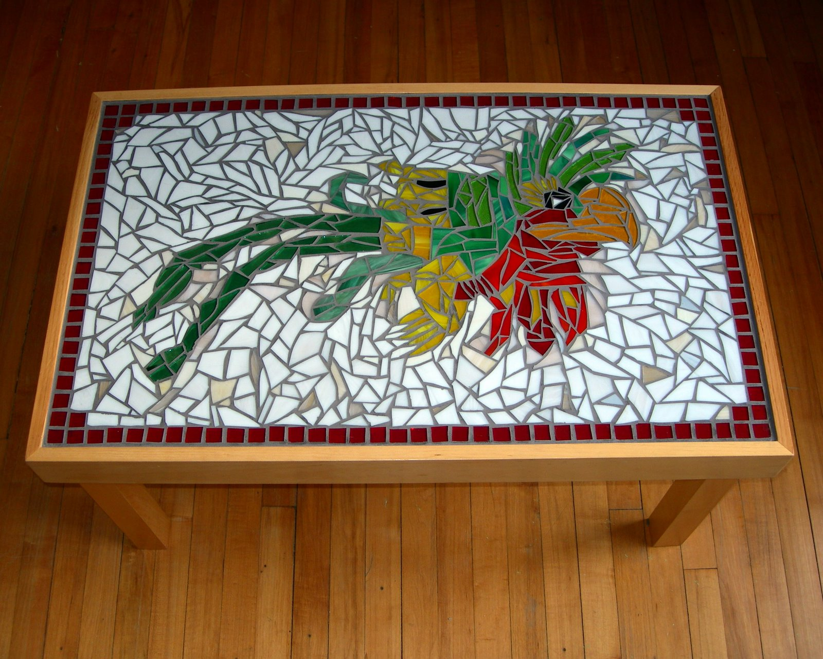 After Varnishing The Wooden Top I Went To Work On Mosaic And Many Hours Later Voila Had A Lovely Mosaicked Table
