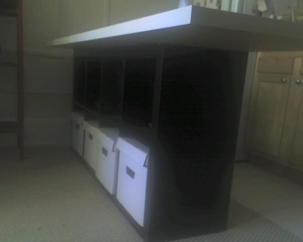 Kitchen Island From Bookcase And Table Top