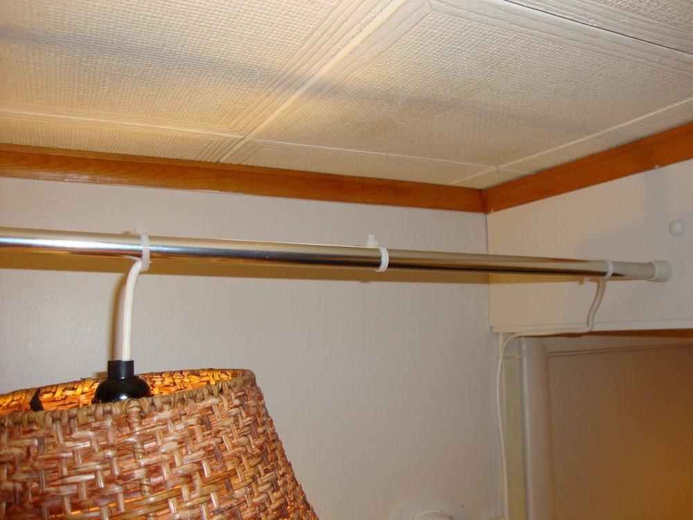 tension rod hanging lamp
