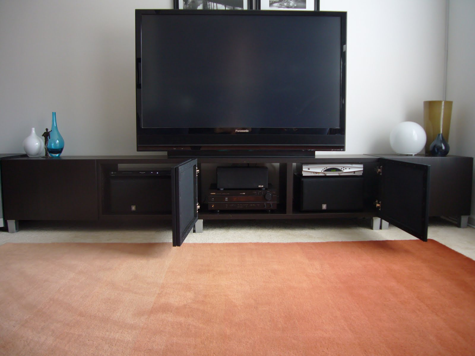 Contemporary concealed entertainment center - IKEA Hackers