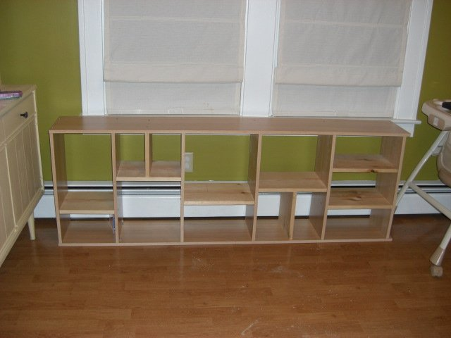 ikea bookcase sideways and added cubbies