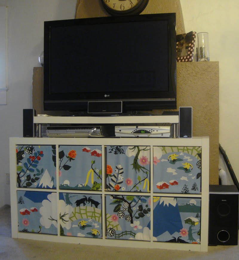Ikea Godmorgon Tall Cabinet ~ Expedit entertainment center with a colorful twist  IKEA Hackers