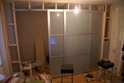 Back of Pax doors - studio apartment sliding door room divider