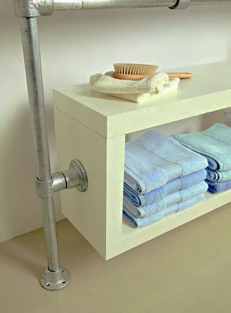 Floating Bathroom Shelving Unit with industrial vibe