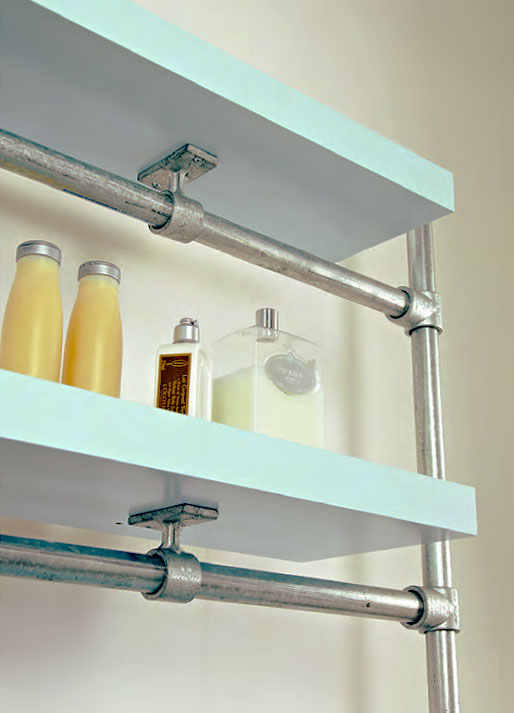 Elegant Industrial Pipe Shelf Bathroom Shelves Kitchen By ReclaimedWoodUSA